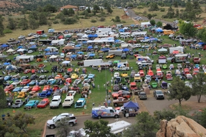 Ariel view of cars at Prescott Antique Car Club show
